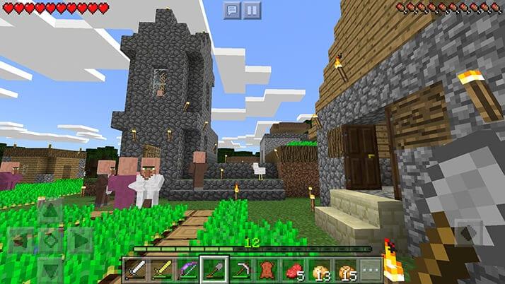 村を発見!村人と初対面!!マイクラの世界には人がいたのだ|#4 おじクラ - マインクラフトPE