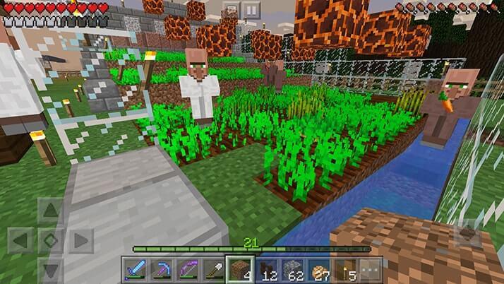 村人同士の積極度アップ用に専用畑設置!作物は自動回収!|#25 おじクラ - マインクラフトPE
