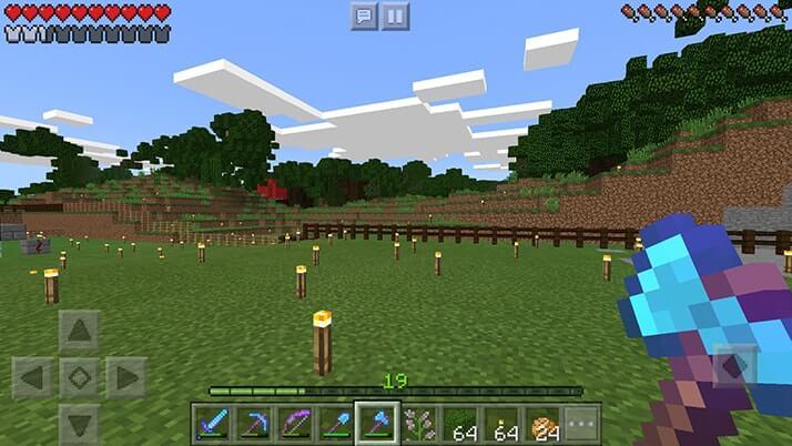 村の敷地を拡げる整地作業!まずは木の伐採から|#29 おじクラ - マインクラフトPE