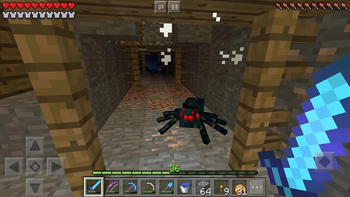 巨大廃坑で8個の洞窟グモスポナー制圧でモンスタースポナーGET!|#35 おじクラ - マインクラフトPE