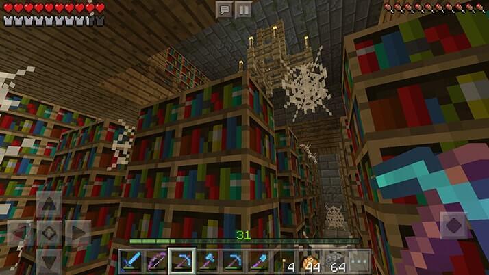 地下要塞の図書館で本棚荒稼ぎ!|#54 おじクラ - マインクラフトPE