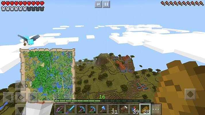 崖にできた不思議なアカシア村!地図埋め中に見つけたよ|#87 おじクラ – マインクラフトPE