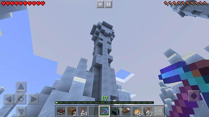 樹氷発見!初レアバイオームで氷塊取り放題!!|#91 おじクラ - マインクラフト(PE)